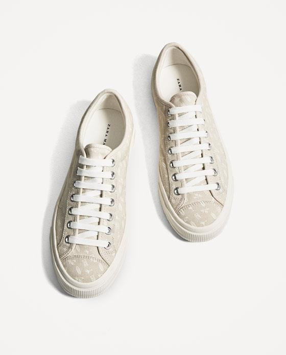 BEIGE SNEAKERS WITH TROPICAL P