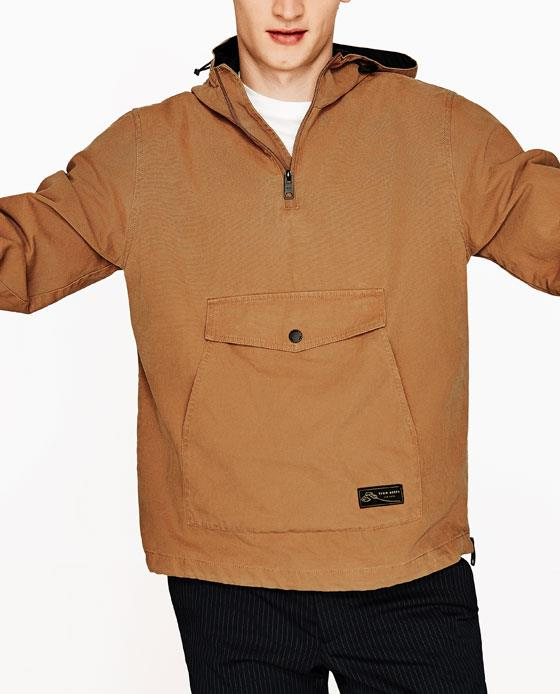 CANVAS HOODIE WITH A POUCH POCKET DETAILS
