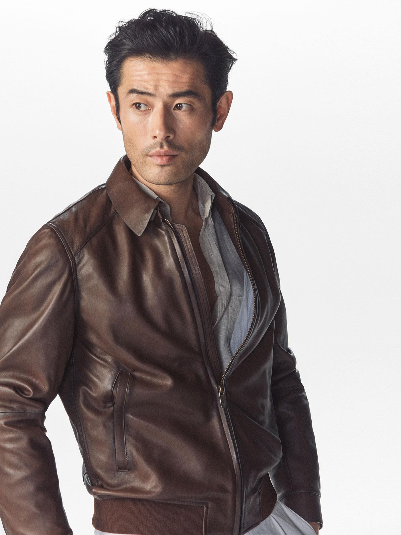 BROWN NAPPA LEATHER JACKET $3