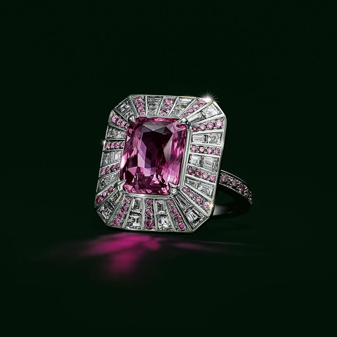 A celebration of intense color, this breathtaking ring prizes a 6.05 carat emerald-cut pink sapphire, surrounded by a sea of round pink and white diamonds. Click the link in our bio to discover this year's collection.