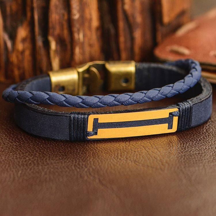 دستبند طلا و چرم طرح شماره 94
