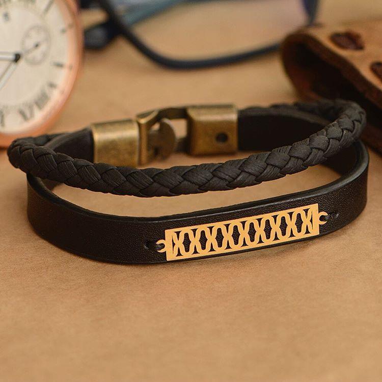 دستبند طلا و چرم طرح 76 قيمت