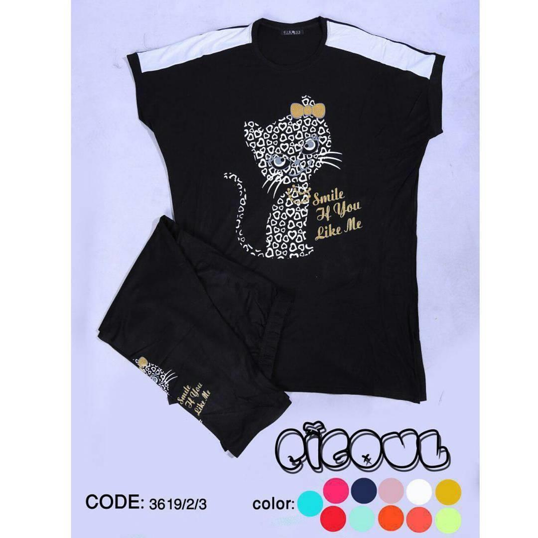 🌟 ست تی شرت شلوارک کد:3619/