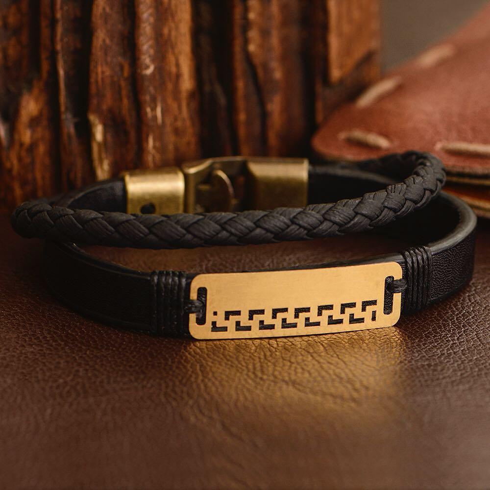 دستبند طلا و چرم طرح 71 قيم