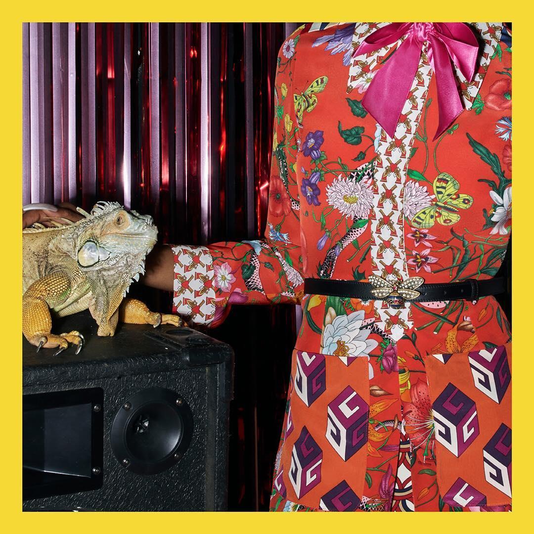 A patchwork silk dress feature
