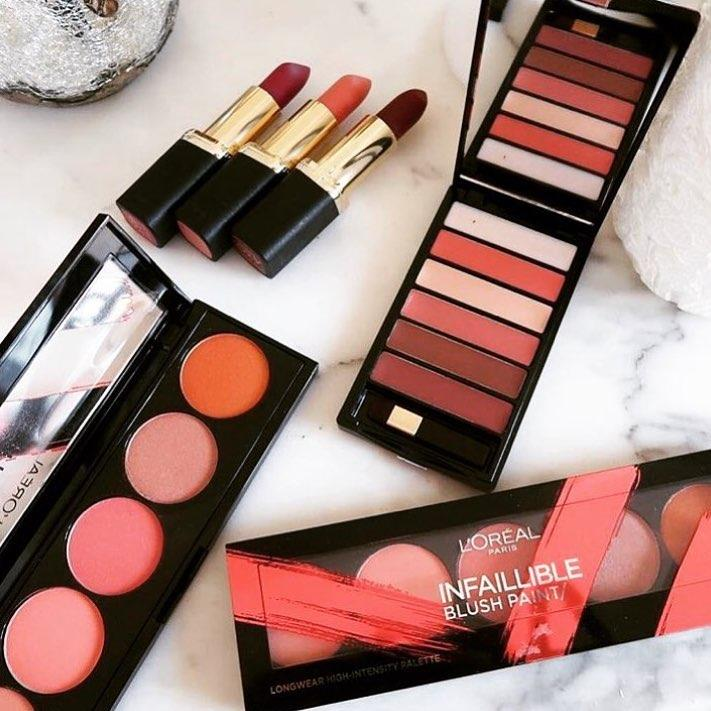 💕We love Palettes, do you? 💕 featuring Color Riche La Palette Lips, Matte Addiction lipsticks💄 Infaillible Blush Paint Palette 🎨 colors - 1️⃣Miami Sunrise 2️⃣Coral Bay 3️⃣Peach Fling 4️⃣Amber Love 5️⃣Indian Cruise ✨