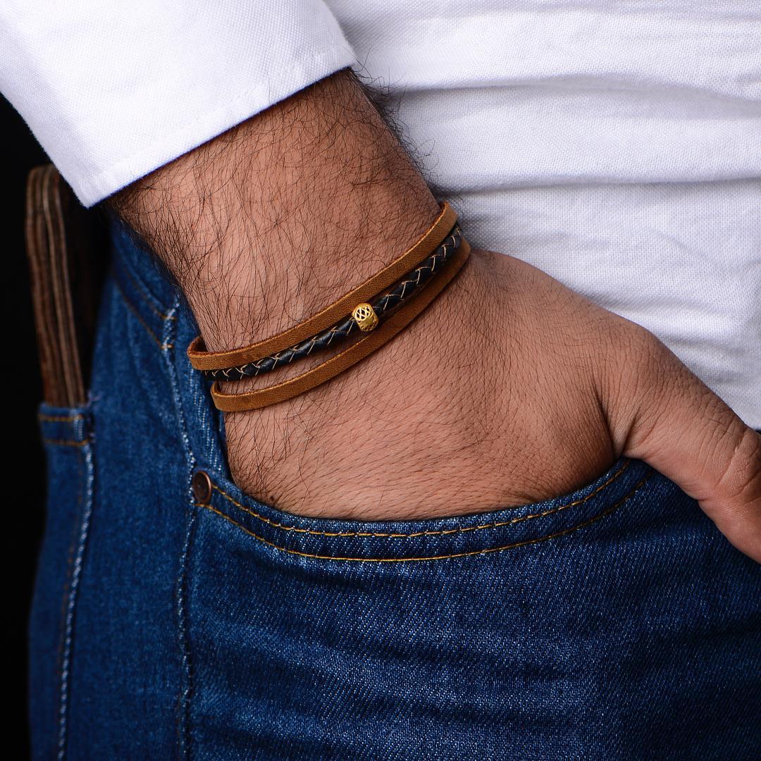 دستبند طلا چرم طرح 168 قيمت 1