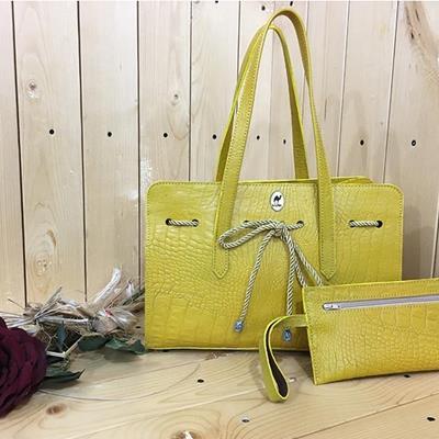 کیف چرم طبیعی بیتا زرد
