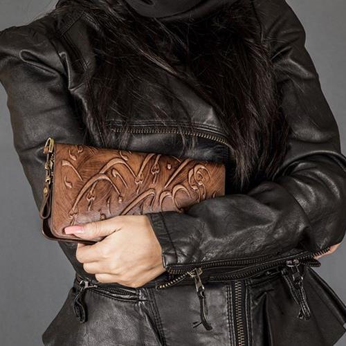 کیف پول زنانه دورزیپ سیاه مشق