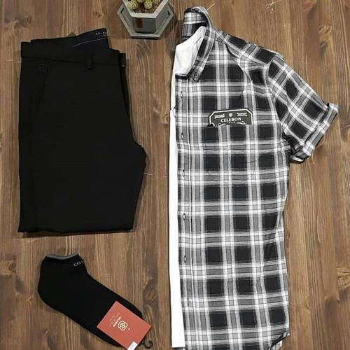 پیراهن مردانه نخ پنبه آستین