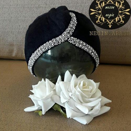 کلاه مجلسی حجاب جواهر دوزی کا